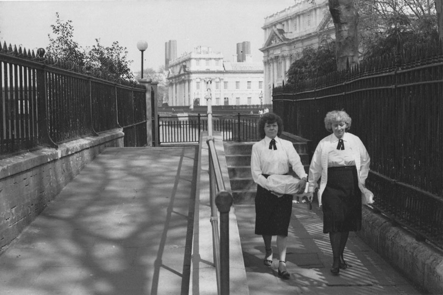 Two women near the old Greenwich Naval Hospital in 1982